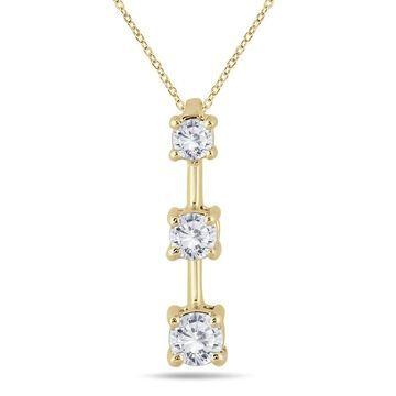 Marquee Jewels 10k Yellow Gold 1/2ct TDW Diamond Graduated 3-stone Drop Pendant
