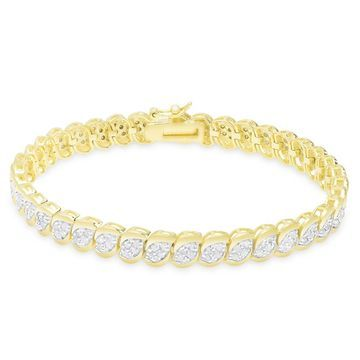 Finesque Gold Over Silver or Sterling Silver 2 ct TDW Diamond Bracelet