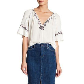 Paige Womens Blouse White Black Size Medium M Embroidered Split Neck