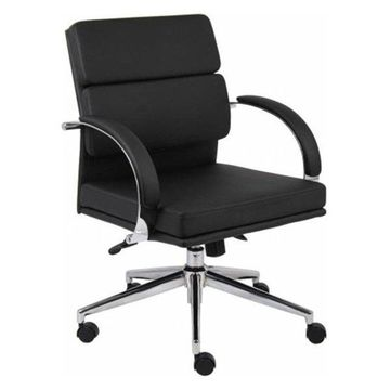 Boss B9406-BK Mid-Back Executive Chair, Black