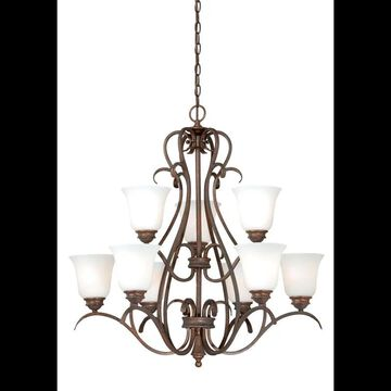 Vaxcel Lighting H0151 Hartford 9 Light Two Tier Chandelier with Glass Shades - 30 Inches Wide Weathered Patina Indoor Lighting Chandeliers
