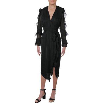 Bardot Womens Wrap Dress Shadow Stripe Cold Shoulder