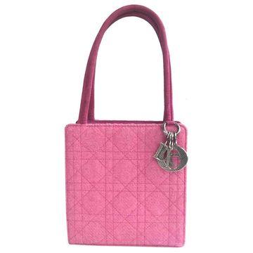 Vintage Dior Lady Dior Pink Cloth Handbag