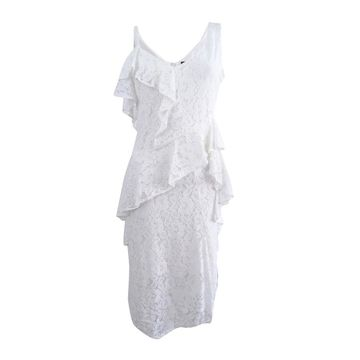 Taylor Women's Ruffled Lace Midi Dress - Off White