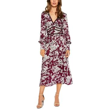 Bardot Womens Dress Red Size 4 UK 8 A-Line V-Neck Floral-Printed