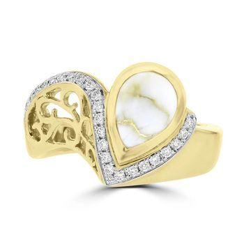 La Vita Vital 14K Yellow Gold & Gold Quartz 1.38cts and Diamond Ring 0.16ct TDW (SI1-VS, G-H)