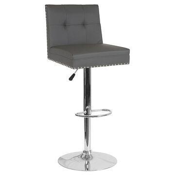 "Flash Furniture Faux Leather Swivel Ravello 34"" Bar Stool In Gray grey"