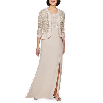 R & M Richards 3/4 Lace Jacket Evening Gown-Petite