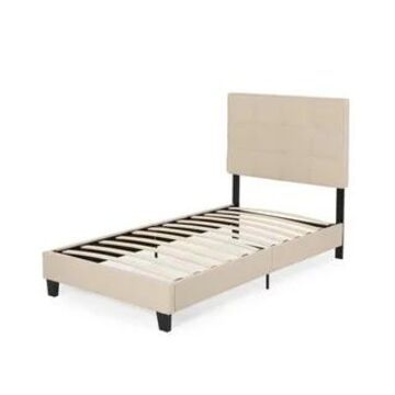 Eveleth Upholstered Twin Platform Bed by Christopher Knight Home (Beige+Black - Twin)
