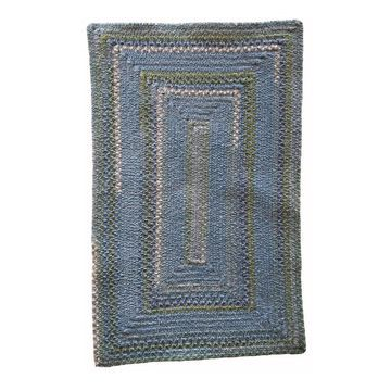 Bailey Delphinium Blue Concentric Rectangle Braided Rug - 7' x 9'