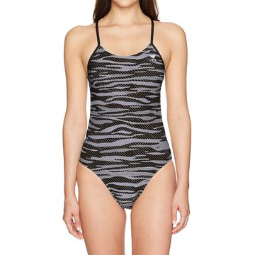 TYR Gray Womens Size Small S UPF 50+ Performance One-Piece Swimwear