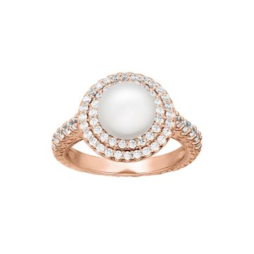 Certified Sofia Bridal Cultured Freshwater Pearl & Swarovski Cubic Zirconia Rose Gold Over Silver Ring