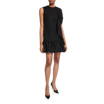 Sleeveless Tricotine Tech Dress with Pleated Ruffle Trim