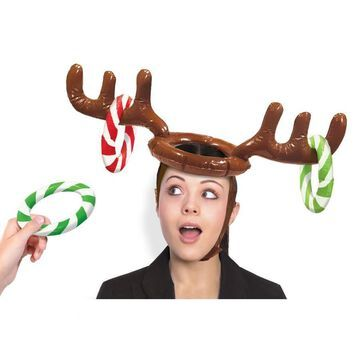 Amscan 24 in. x 5 in. Christmas Inflatable Reindeer Hat Ring Toss Game in Brown