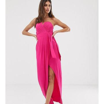 TFNC bandeau wrap midaxi dress with pleated detail in fuchsia-Pink