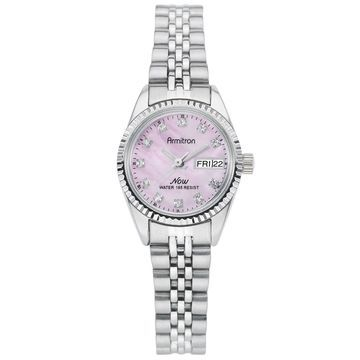 Armitron Ladies Swarovski Crystal Accented Pink Dial Silver-Tone Bracelet Watch