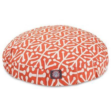 Majestic Pet Aruba Round Dog Bed Treated Polyester Removable Cover Orange Small 30 x 30 x 4