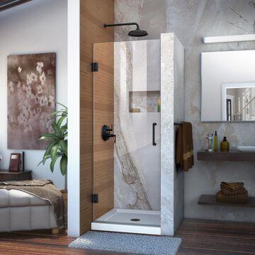DreamLine Unidoor 72-in H x 27-in W Frameless Hinged Satin Black Shower Door (Clear Glass) | SHDR-20277210F-09