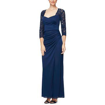 Alex Evenings Womens Petites Formal Dress Sweetheart Glitter - Navy