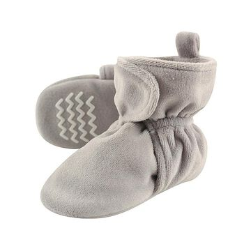 Hudson Baby Infant Booties and Crib Shoes Heather - Heather Gray Velour & Fleece Bootie - Kids
