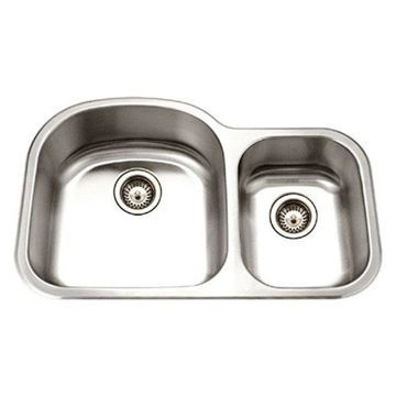 Houzer MC-3210SR-1 Medallion Designer Series Undermount Stainless Steel 70/30 Do