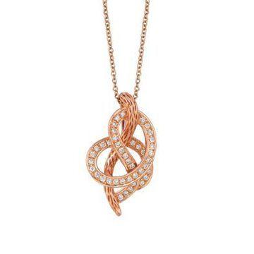 Le Vian Women Knots 1/4 Ct. T.W. Vanilla Diamonds Pendant In 14K Strawberry Gold - -