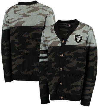 Oakland Raiders Klew Camouflage Cardigan - Black