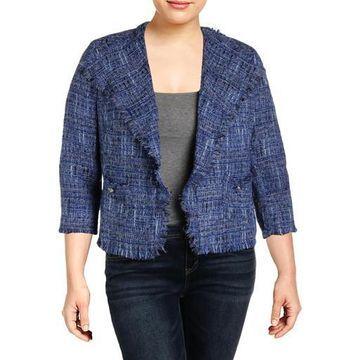 Anne Klein Womens Tweed Fringe Tweed Jacket