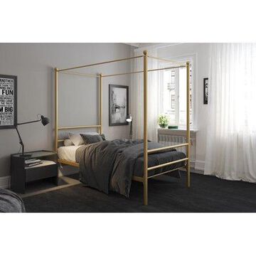 Mainstays Metal Canopy Bed, Gold, Twin
