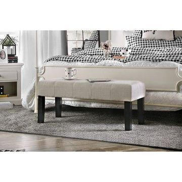 Furniture of America Diani Ivory Fabric Upholstered Bench