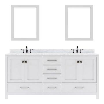 Virtu USA Caroline Avenue 72-in Double Bath Vanity in White with Marble Top and Round Sink with Mirrors | GD-50072-WMRO-WH-020