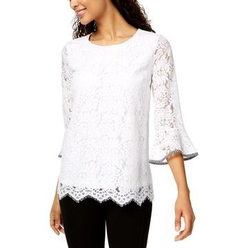 Charter Club Womens Lace Scalloped Blouse