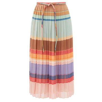 Zimmermann - Tie-waist Striped Pleated Crepe Midi Skirt - Womens - Multi