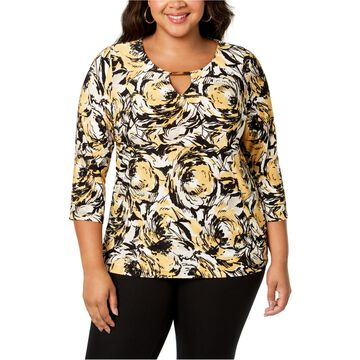JM Collection Womens Printed Jacquard Pullover Blouse