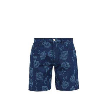 Aries - Rose Print Mid Rise Denim Shorts - Mens - Blue