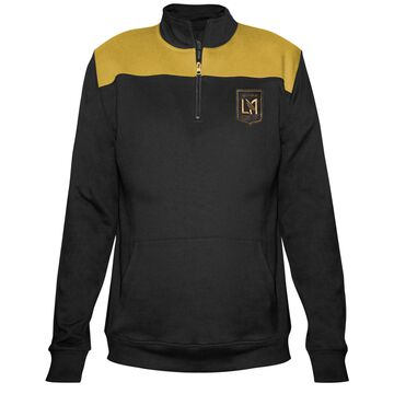 Women's Majestic Black LAFC 1/4-Zip Pullover Jacket