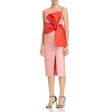Keepsake Womens Retrograde One Shoulder Bow Midi Dress