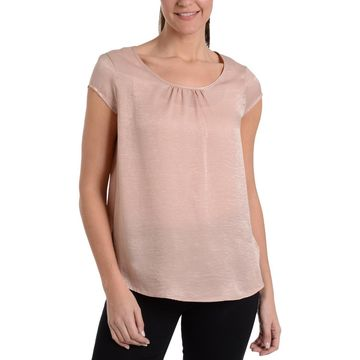 NY Collection Womens Gathered Scoop Neck Blouse