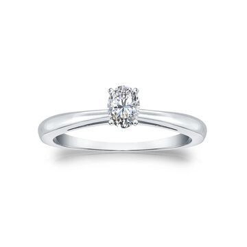 Auriya 14k Gold 1/4ctw Oval-cut Solitaire Diamond Engagement Ring