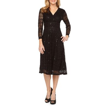 Ronni Nicole Long Sleeve Lace Fit & Flare Dress