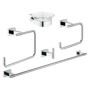 GROHE 5-Piece Essentials Cube Chrome Decorative Bathroom Hardware Set | 40758001