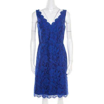 ML By Monique Lhuillier Blue Floral Lace Scalloped Trim Detail V-Neck Dress S