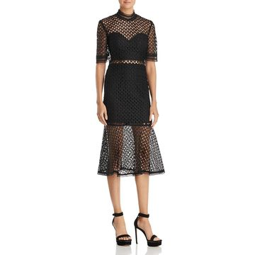 Bardot Womens Fiona Mesh Short Sleeves Cocktail Dress