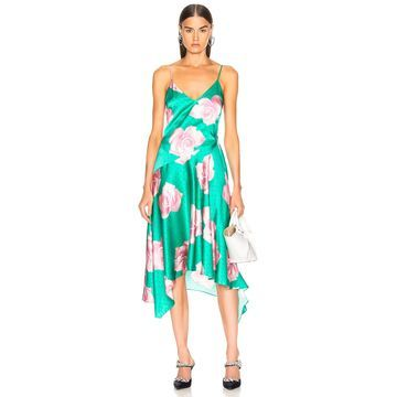 fleur du mal Handkerchief Dress in Mega Rose Print & Monaco Green | FWRD
