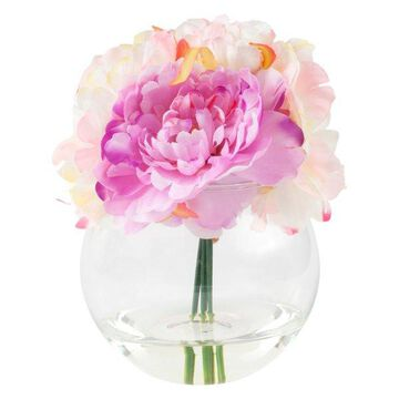 Pure Garden Peony Floral Arrangement With Glass Vase, Pink