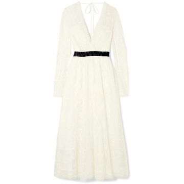 Needle & Thread - Eleanor Wrap-effect Satin-trimmed Lace Midi Dress - White