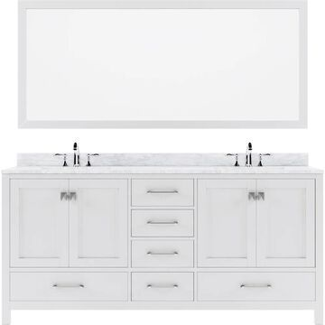Virtu USA Caroline Avenue 72-in Double Bath Vanity in White with Marble Top and Round Sink with Polished Chrome Faucet and Mirror