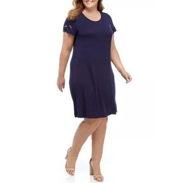 Ronni Nicole Women's Plus Size Short Sleeve Lace Trim A-Line Dress - -