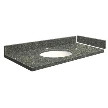 Transolid 61-in Greystone Quartz Single Sink Bathroom Vanity Top in Gray | VT61X22-1OU-4T-4