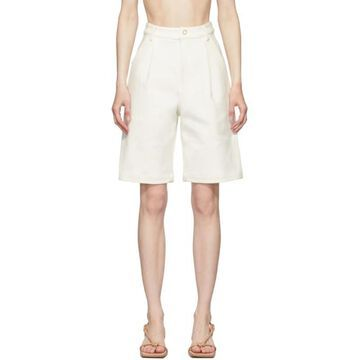 Dion Lee White Vented Pleat Shorts